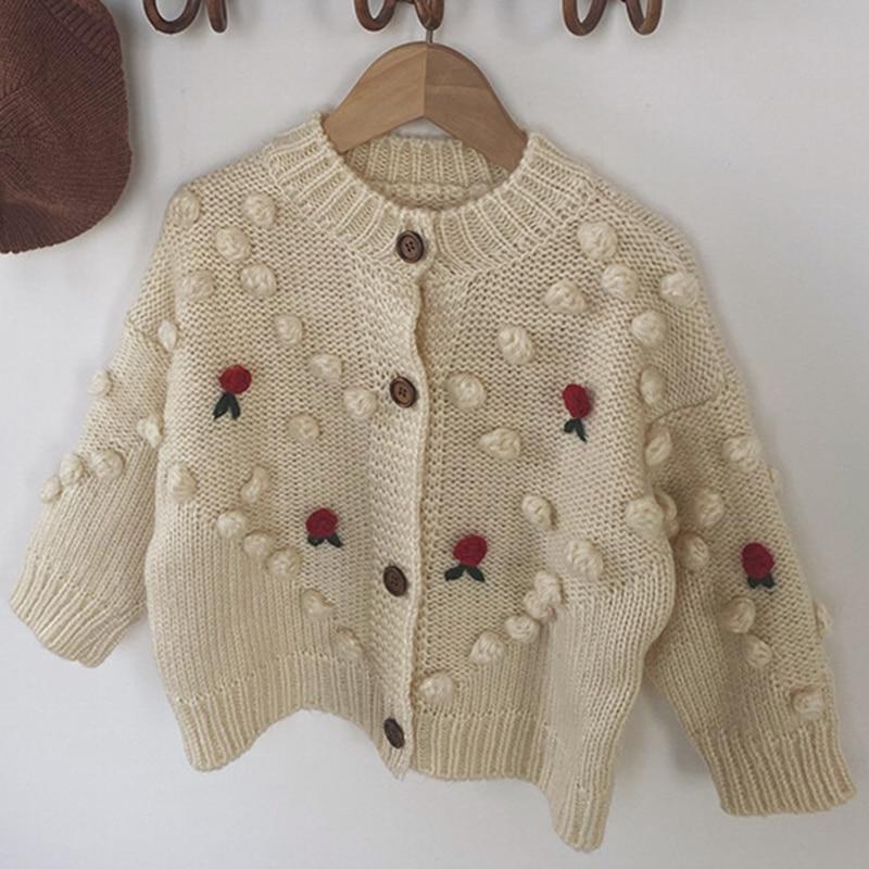 Autumn Winter Baby Girls Flower Knitted Cardigan Sweaters Coat Children Clothing Kids Handmade Wool Ball Cardigan Coat Tops