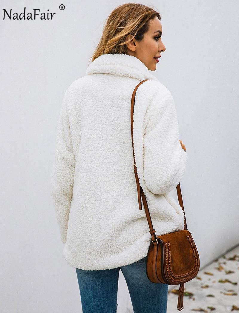 Nadafair plus size fleece faux fur jacket coat women winter pockets thicken teddy coat female plush overcoat casual outerwear 10