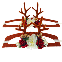 High Quality Headwear For Pet Dogs Cats Hat Christmas Reindeer Antlers With Flowers Decor Hair Accessories