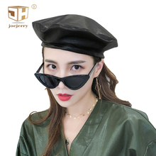 JOEJERRY  Faux Leather Beret French Hats For Women Painter Flat Cap Female Boina Feminina Spring Summer Autumn Winter