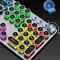 Механическая игровая клавиатура в стиле стимпанк, металлическая панель, круглый ретро-ключ, подсветка, проводная, компьютерная, бытовая тех...