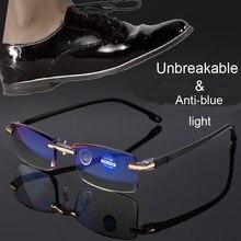 Nonor azul luz de bloqueio óculos sem aro óculos de leitura feminino masculino quadrado sem moldura presbiopia + 1.0 1.5 2 2.5 4.0
