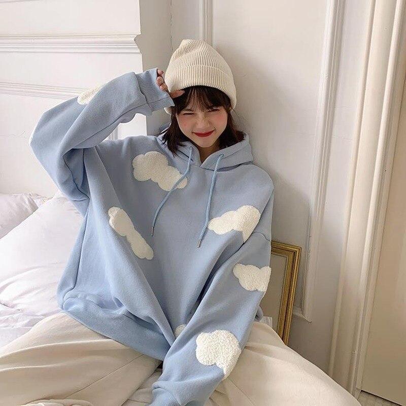 Camisola coreana feminina inverno 2020 moda nuvens pulôver mais veludo quente manga longa topos casual hoodies kawaii feminino