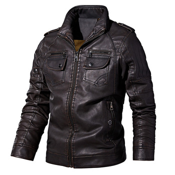 PYJTRL Mens Autumn Winter Fleece Lining Leather Jacket Fashion PU Washed Leather Motorcycle Jaket Men Bomber Camperas Thick Coat 7