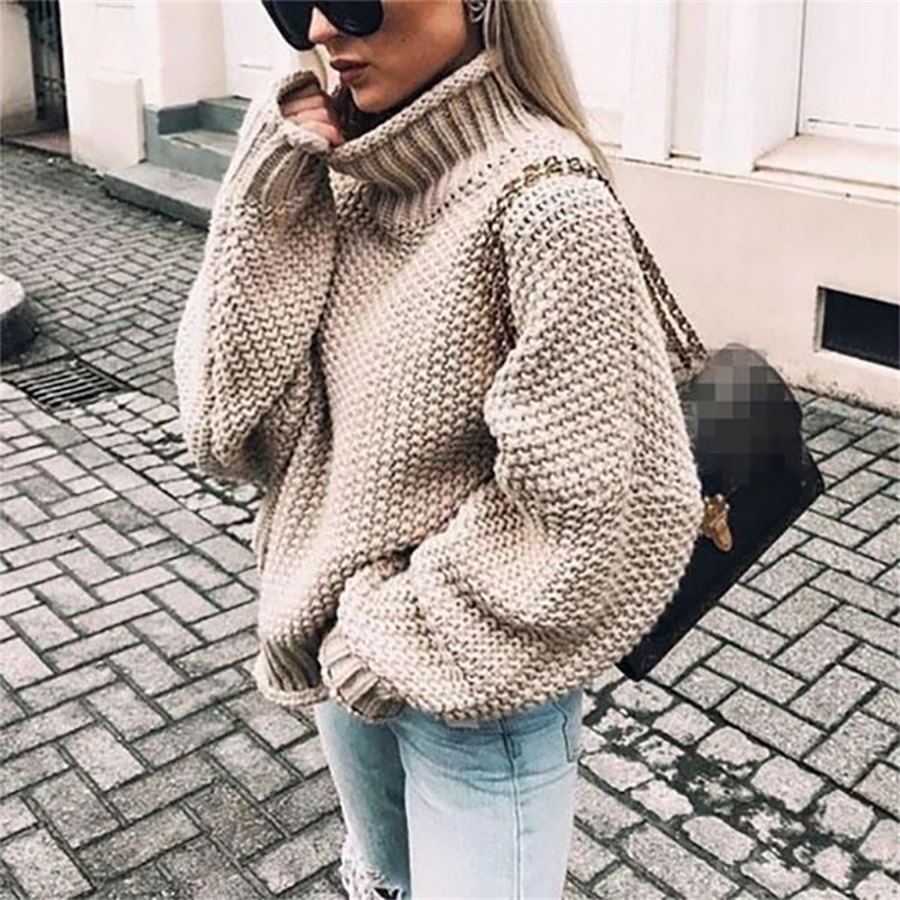 Fall And Winter 2019 New Rough Wool Sweater Women's Curled High-collar Bat Sleeve Knitted Shirt