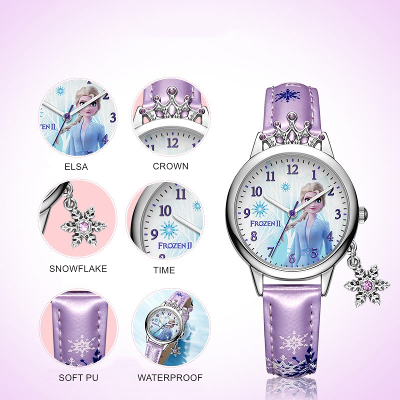 Frozen +% E2% 85% A1 Disney Princess Series Elsa Luxury Bling Rhinestone Crown Snowflake Pendant Beautiful Girls Часы Children Watch New