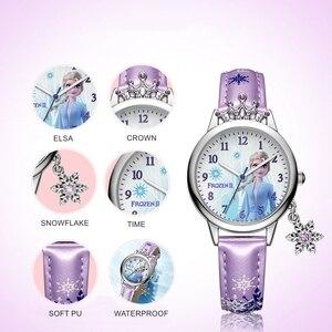 Image 4 - Frozen Ⅱ Disney Princess Series Elsa Luxury Bling Rhinestone Crown Snowflake Pendant Beautiful Girls Watches Children Watch New