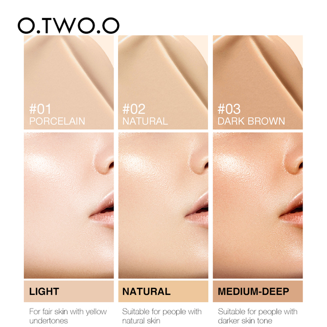 O.TWO.O Liquid Foundation Professional Makeup Base  Oil Free Full Coverage Concealer Long Lasting Liquid Foundation Cosmetics 6