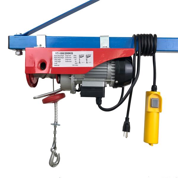 220lb/440lb Mini Electric Steel Wire Rope Hoist Remote Control Garage Auto Shop Overhead Lifting Mini Block, Crane Equipment