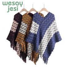 Ponchos New European and American style fashion Knitte geometric  imitation comfortable temperament warm poncho shawl cape