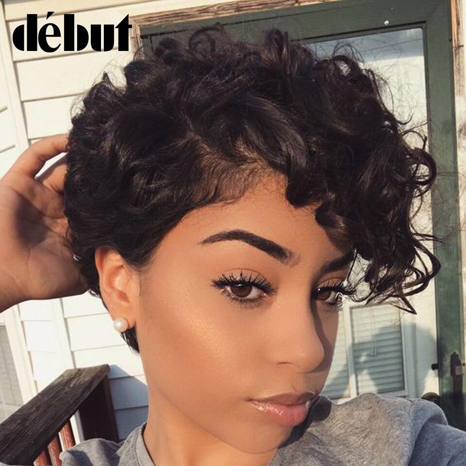 Debut Human Hair Wigs For Black Women Fashion Curly Wavy Human Hair Wigs Brazilian Cheap Short Ombre Hair Full Wigs Free Ship