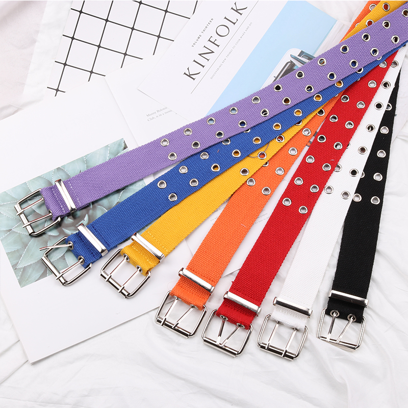 BLA Fashion Canvas   Belts   Casual Double Hollow Hole Buckle   Belt   Adjustable Solid Color Waist Strap For Women Men Students Jeans 3