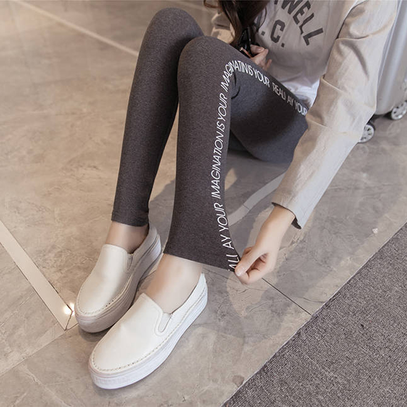 Bella Philosophy 2019 Autumn Women Plus Size Leggings Casual Harajuku High-Elastic Sports Letter Print Pants Wild Feet Long Pant