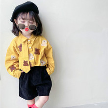 Blouses Kids Korean-Design Long-Sleeve Girls Cartoon with Tie New-Arrival
