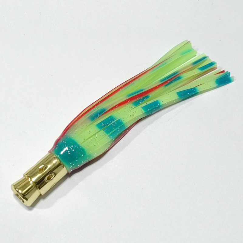 Cinco colores de pesca biónica pulpo falda Metal cabeza de arrastre cebo señuelo mar cebo atún cebo de caballa personalizable