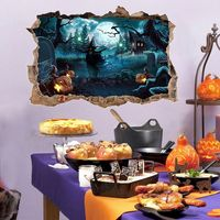 Halloween Scary Wall Decor 3D Breaking Wall Sticker Decals Decorative Witch Haunted House Murals Home Wall Decoration. nn