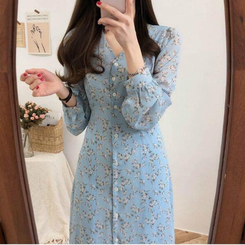 Elegant V Neck Full Sleeve Dress Women Floral Print Sweet Chiffon Dresses Single Breasted Casual Fashion Vestido