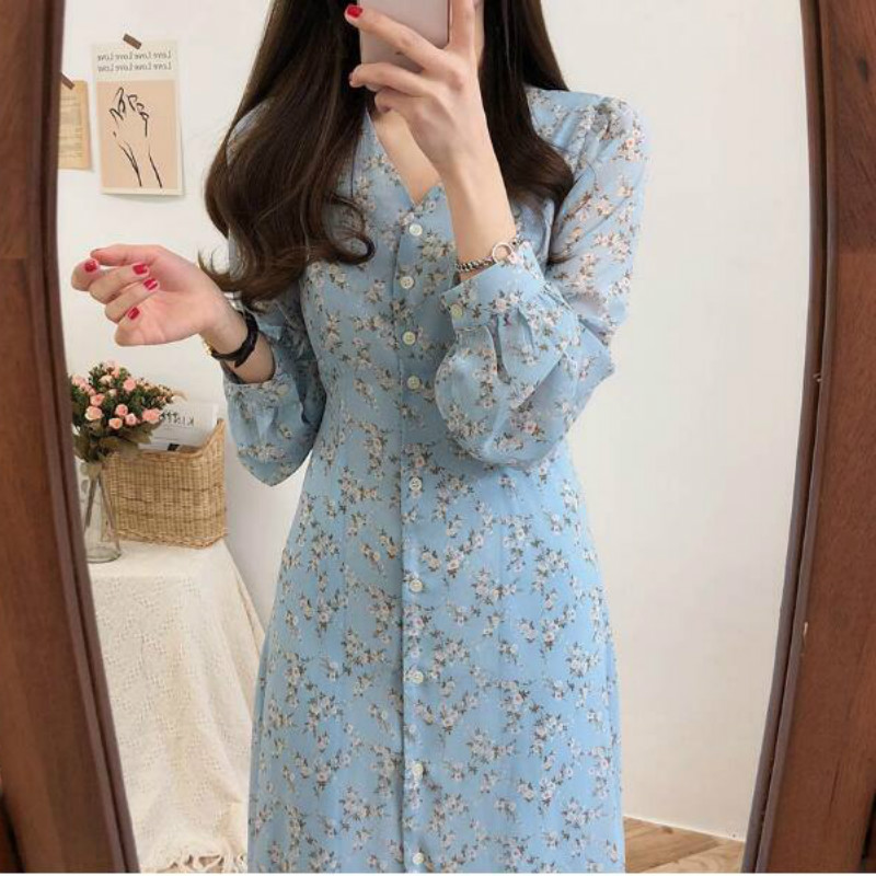 Elegant V Neck Full Sleeve Dress Women Floral Print Sweet Chiffon Dresses Single Breasted Casual Fashion Vestido