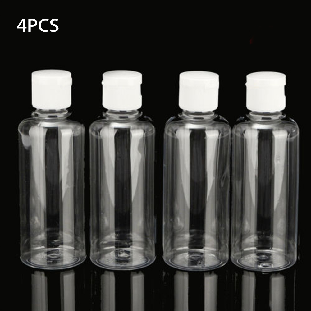 4pcs 100ml Shower Travel Bottle Container Clear Mini Plastic Lotion Liquid Shampoo Portable Multifunctional Refillable