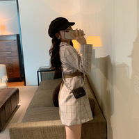 A283 # Autumn And Winter WOMEN'S Dress Western Style Fashionable Plaid Stitching Lace up Slimming Significant Leg Length Small S