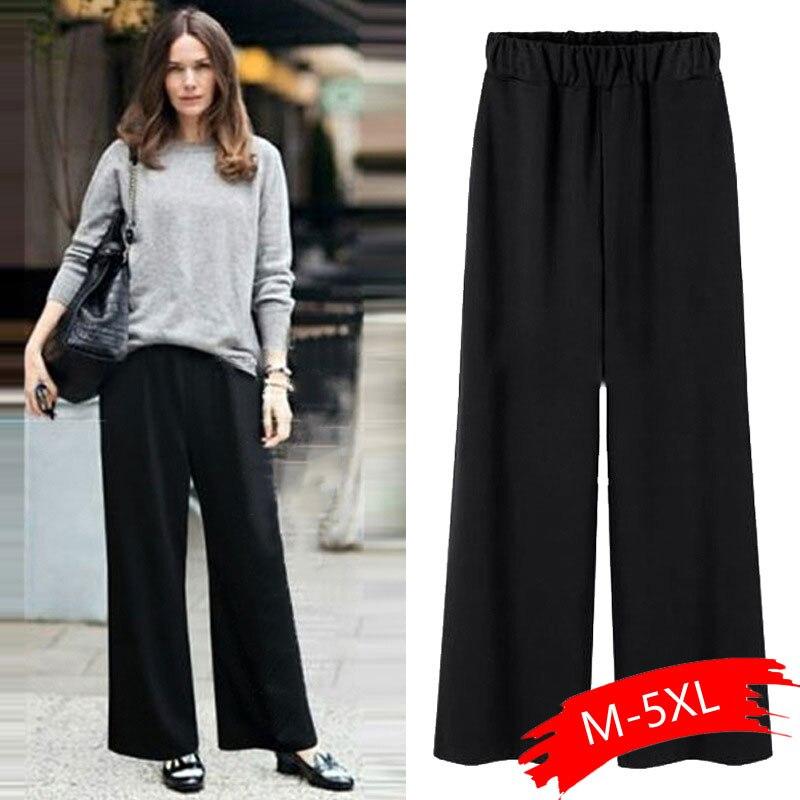 2019 Spring And Autumn Fashion Plus Fertilizer XL 200 Kg   Wide     Leg     Pants   Women Loose Style   Pants