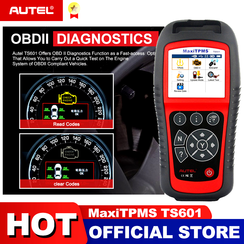 AUTEL MaxiTPMS TS601 Car OBD2 Diagnostic Tool Activate Tire Sensor TPMS Reprogramming Automotive Code Reader Scanner PK TS501