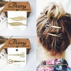 2Pcs/Pair Women Metal Alloy Gold Hair Clips Leaf Star Scissors One Word Hairpins Imitation Pearl Beaded Styling Hair Accessories