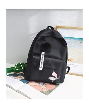 2020 Solid backpack girl school bags for teenage College wind Women SchoolBag High student bag black nylon printing - Black, China