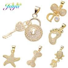 Juya DIY Ювелирные компоненты золото/серебро/розовое золото медальон сердце ключ Подвески и кулоны, аксессуары для женщин модные ювелирные изделия