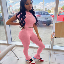 Solid Color Stacked Pants Two Piece Set Tracksuit Women Crop