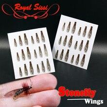 Королевские Sissi 36 шт./пакет реалистичные взрослые каменные крылья неклейкая форель рыболовная сухая муха материалы для связывания предварительно вырезанные летающие связывающие крылья