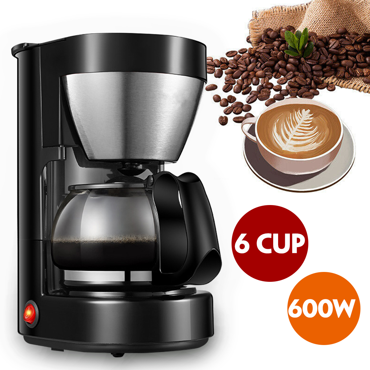 600W Electric Drip Coffee Maker Office Coffee Maker Househole Coffee Machines With High Borosilicate Glass Coffee Pot