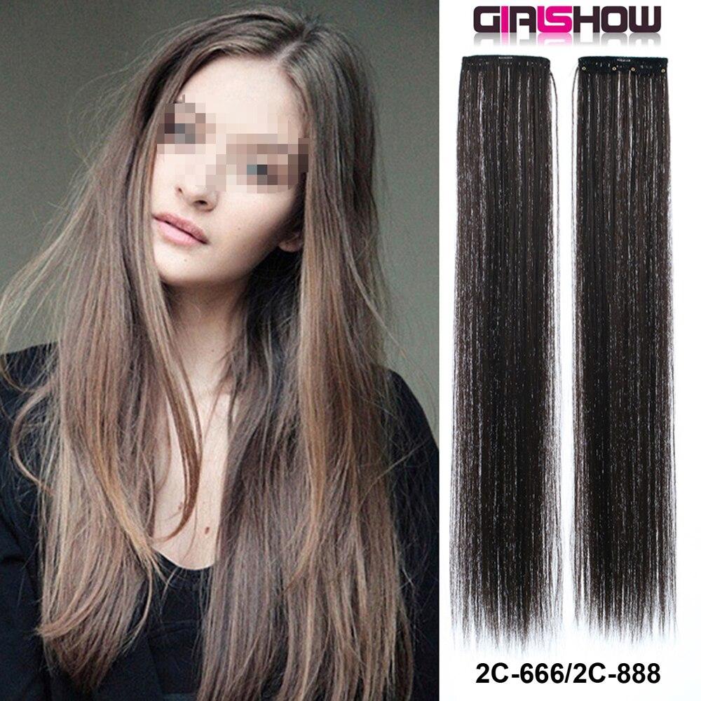 Шелковые прямые клипсы для наращивания волос, 24 дюйма, цельные клипсы для наращивания волос из синтетического волокна, 2C-666, 30 г/шт.