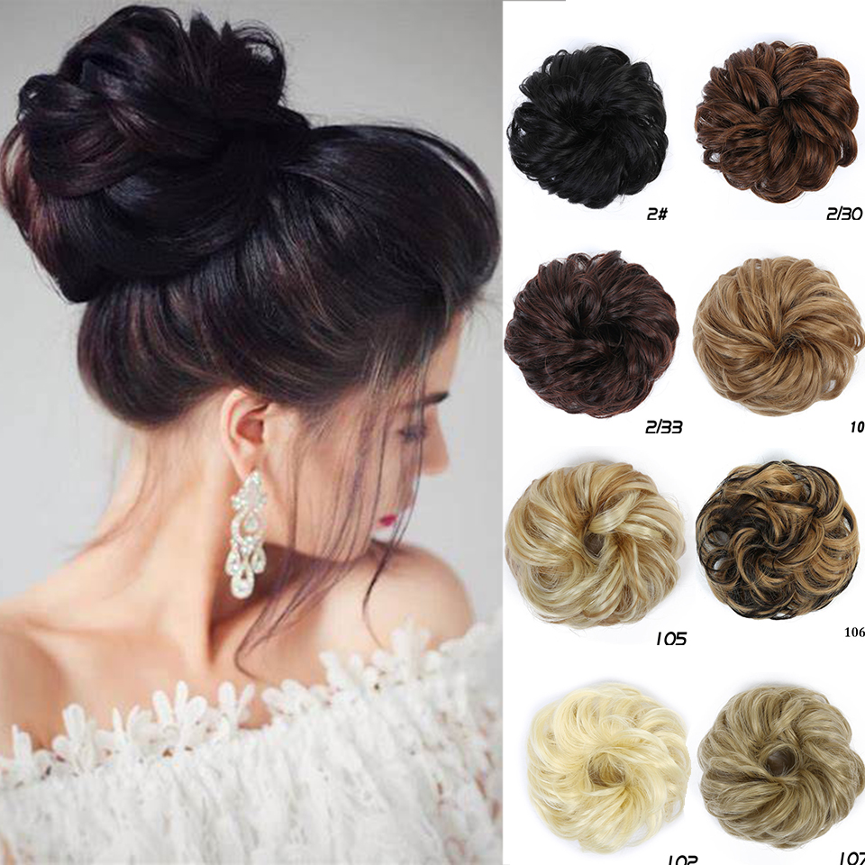 For Women Natural Curly Scrunchies Chignon Synthetic Heat Resistant Clip In Hair Extension Wrap For Ponytail For Brides