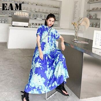 [EAM] Women Blue Pattern Printed Big Size Long Shirt Dress New Stand Collar Short Sleeve Loose Fashion Spring Summer 2020 1U919
