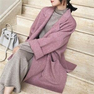 Image 3 - 2019 New Autumn and Winter Wool Jacket Women Loose Korean Cashmere Coat Mid long Woolen Coat Female NS1449