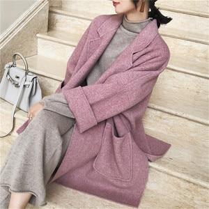 Image 3 - 2019 nouveau automne et hiver laine veste femmes en vrac coréen cachemire manteau mi long laine manteau femme NS1449