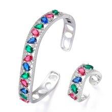 LARRAURI Handmade Prong Setting AAA CZ Bangle Open Ring Jewelry Set Luxury Gorgeous Geometric for Women Bridal Wedding Jewelry