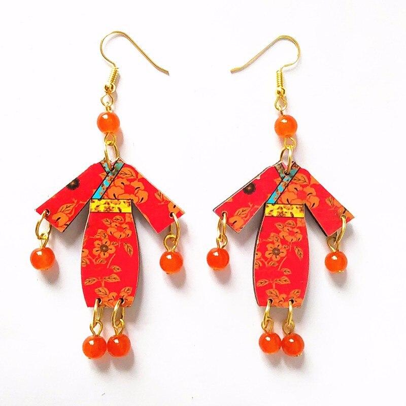 New Wooden Cheongsam earring Dangle Earring Drop Earring Long Tassel