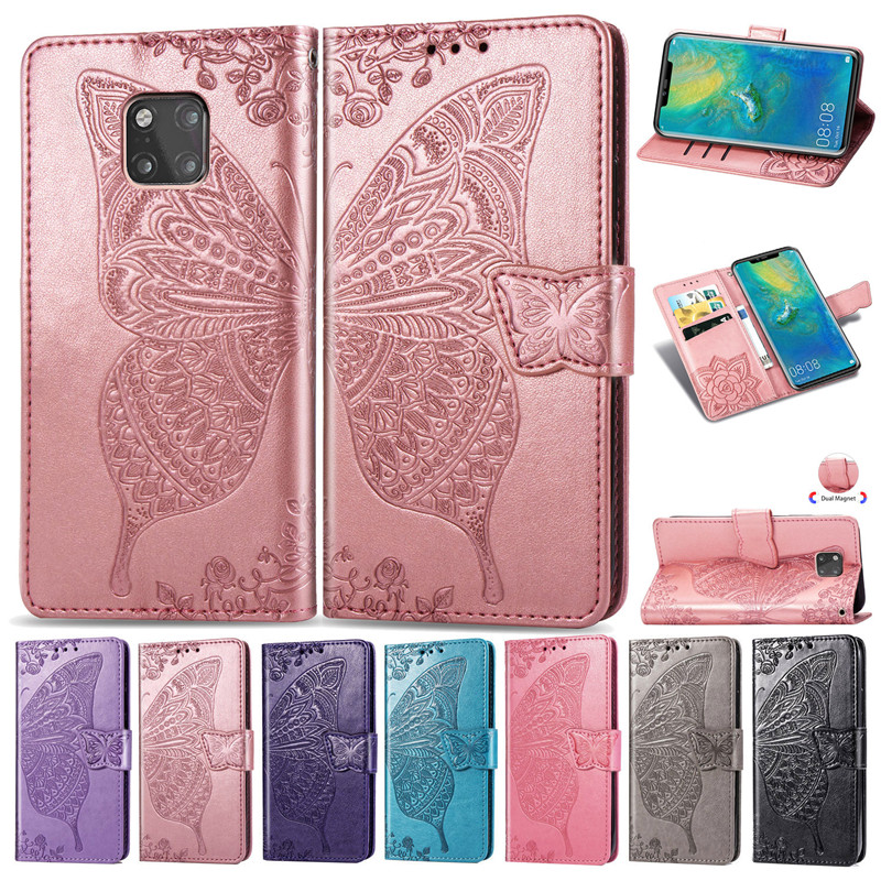 For Huawei Mate 20 Lite Case Flip Leather Phone Case For Mate20 Lite Mate 20Pro Coque 3D Butterfly Wallet Cover with Card Holder