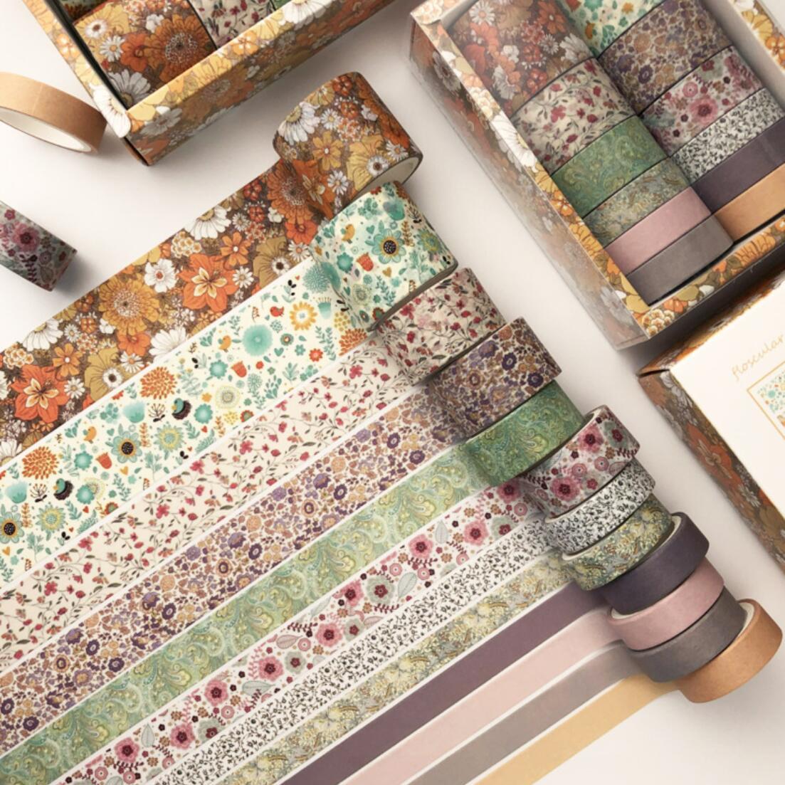 12 Pcs/set Vintage Fanstasy Flowers Washi Tape Set Scrapbooking DIY Bullet Journal Stationery Masking Tape School Office