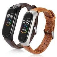 Cinturino Smart Watch in pelle per Xiaomi Mi Band 6 5 4 3 cinturino Crazy Horse Pattern bracciale per accessori da polso MIband