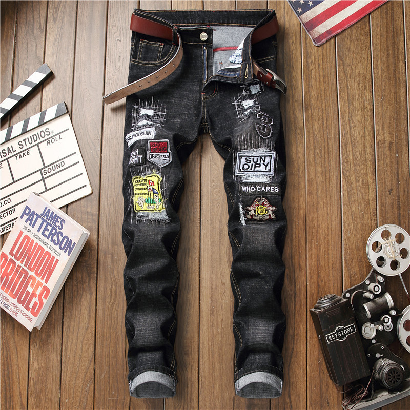 Jeans Men's New Style Europe And America Slim Fit Straight-Cut Embroidery Badge Applique Pants Men's Knee With Holes Trousers Me