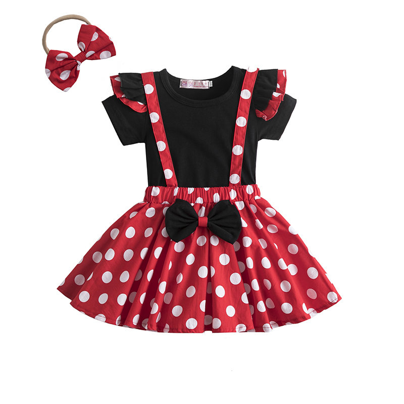 Mini Mouse Girls Dress 1-5 Years Birthday Party Kids Dresses for Girls Halloween Carnival Polka-Dot Chidlren Princess Dress up 1