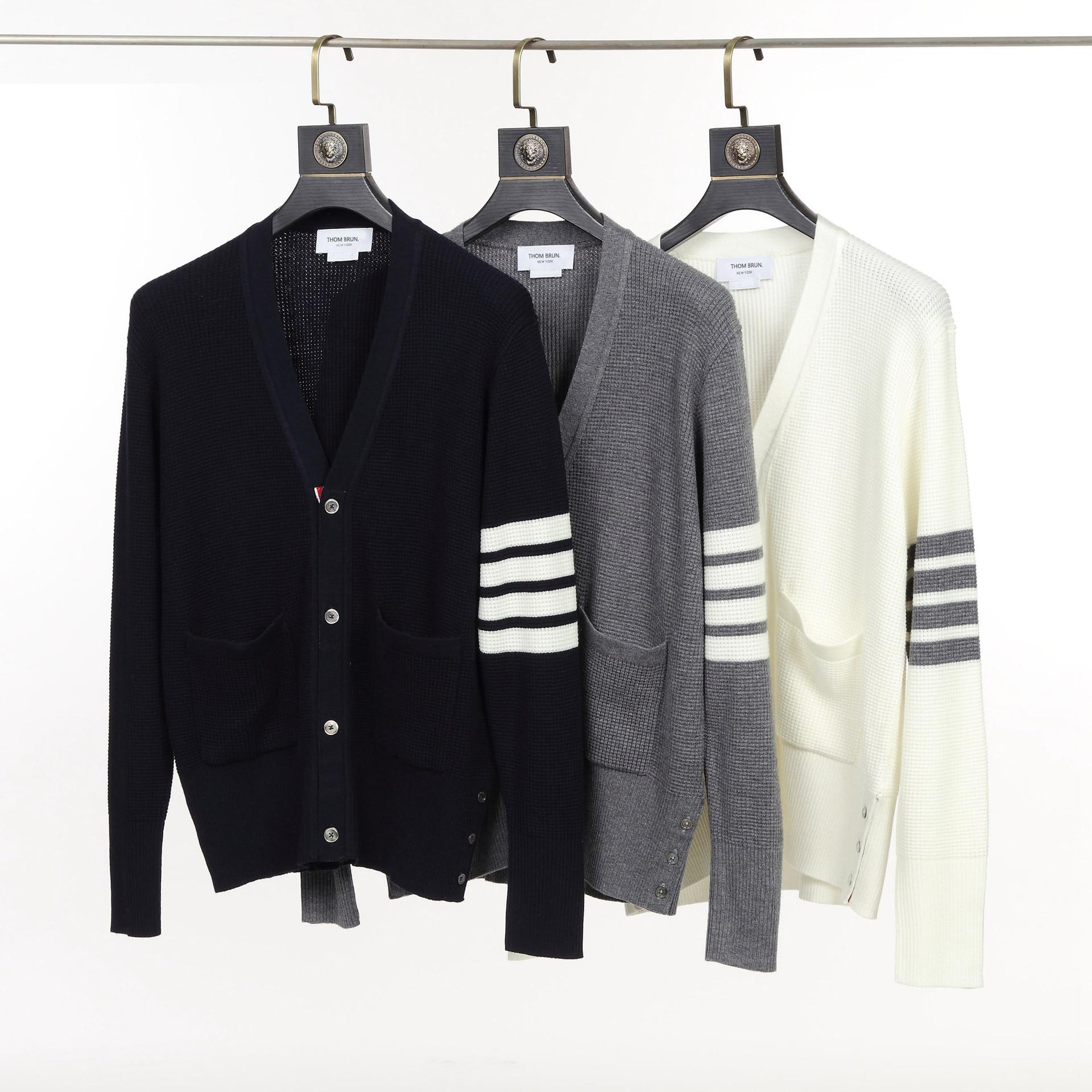 THOM Brand TB Sweater Men Women Casual Striped Wool V-Collar High Quality Cardigan Outerwear Pockets Waffle Design Korean