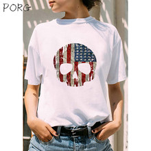 Flag Of The United States Funny Skull Aesthetic Couple Clothes Funny Tshirt O Neck T Shirt Plus Size Women Tshirt Short Sleeve(China)