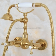 Mixer Tap Shower-Head-Set Bath-Faucet Wall-Mounted Bathroom Gold with Hand Nna826 Polished