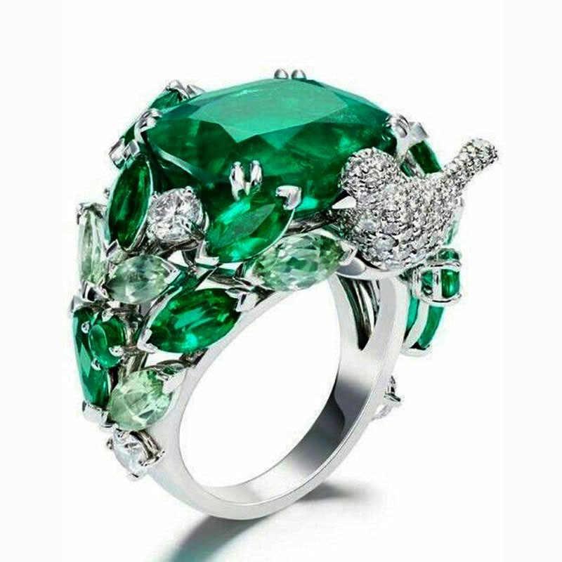 Hijau Besar Batu Cincin untuk Wanita Pernikahan Hadiah Perhiasan Mewah Warna Perak Cubic Zirconia Cincin Bague Femme Anillos Mujer Z5X873