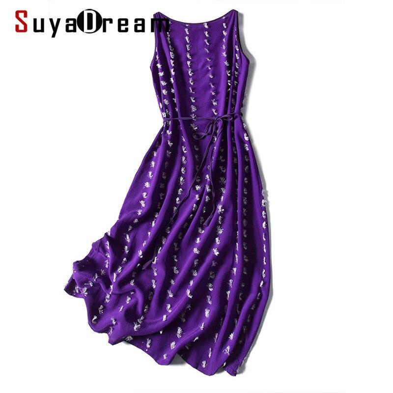 SD Women Silk Long Dress 100%Silk Crepe Embroidery Dots Sleeveless Calf Length Dresses 2020 Spring Summer