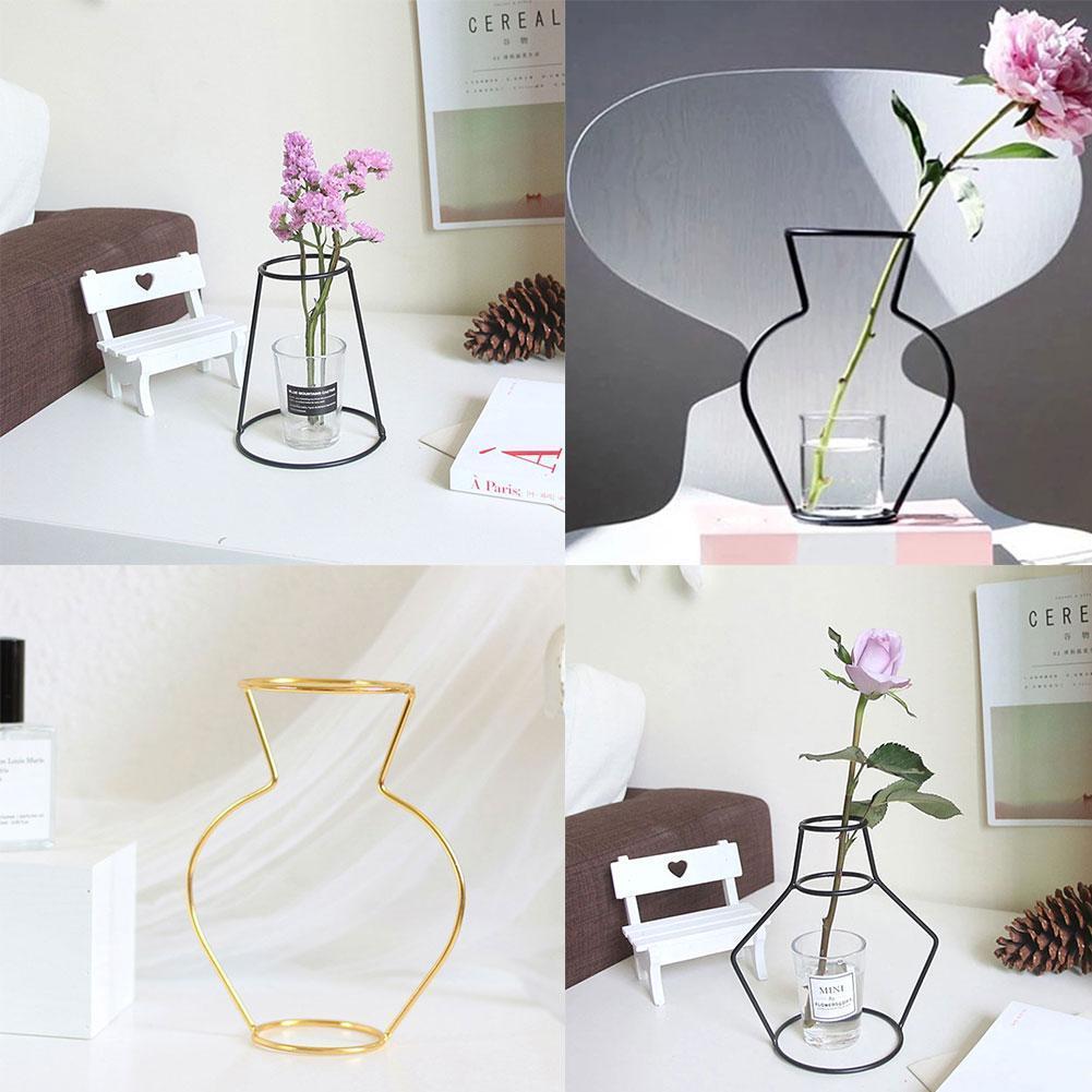 2021 New Nordic Minimalist Abstract Vase Black Iron Ornaments Pot Vase Wall Flower Glass Vase Flower Shelving Short Table C1B1